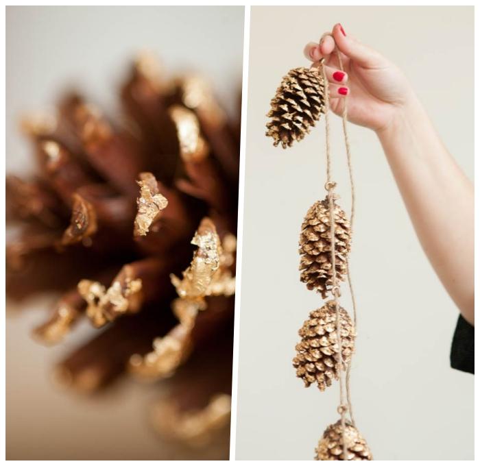 hebstdeko aus naturmaterialein selber machen, girlande aus tannenzapfen basteln, diy anleitung