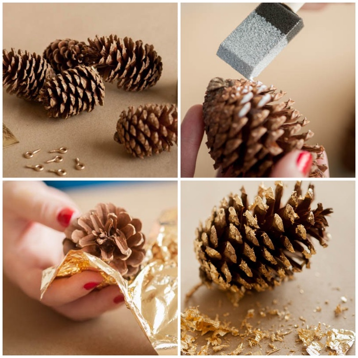 hebstdeko aus naturmaterialien selber machen, diy girlande, bastelideen mit tannenzapfen, blatgold