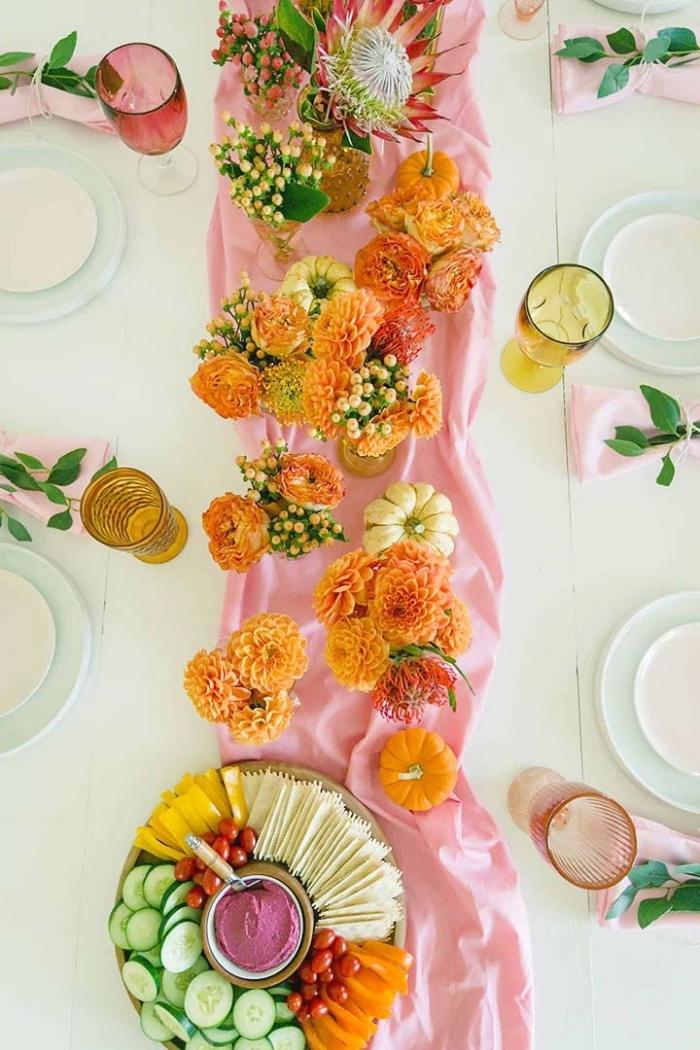 herbstdeko tisch einfach, tischdeko selber machen, party deko ideen, rosa tischläufer