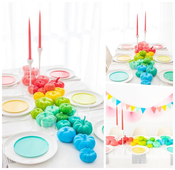 hebstdeko tisch, tischläufer hebst, halloween deko ideen, tischdeko in den regenbogenfarben