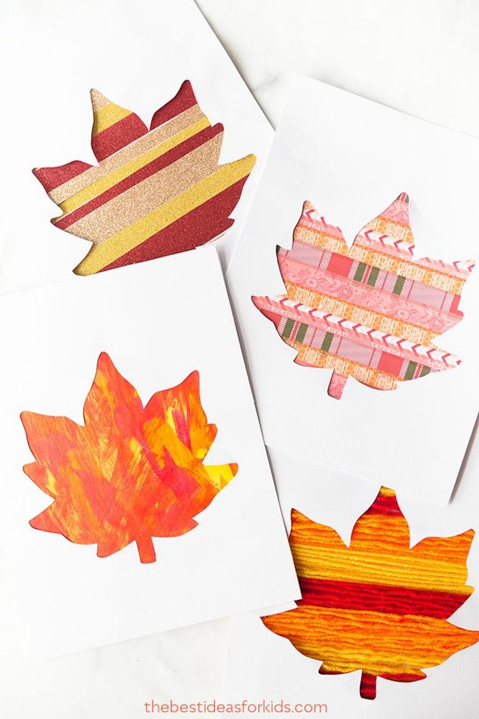 Karten mit Herbstblättern selber machen, mit Garn, Glitter und Washi Tape