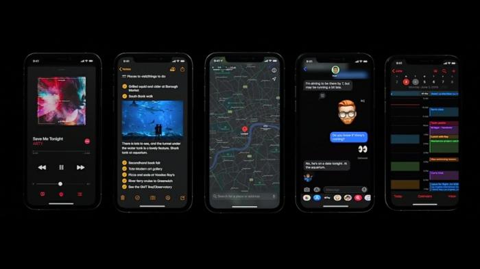 fünf Handys stellen die Vorteile von iOS 13 vor, mit dem Dunkelmodus für den Abend
