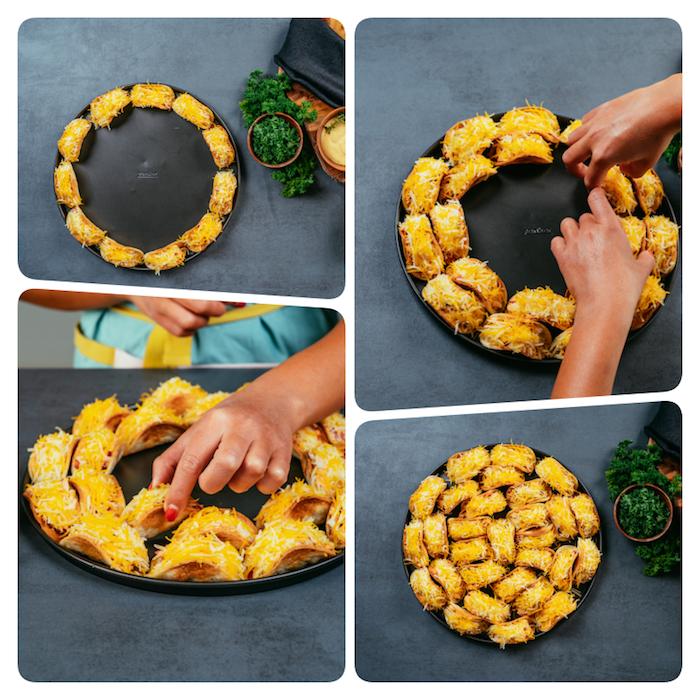 Mini Tacos mit geriebenem Cheddarkäse auf großen Teller anrichten, schnelle Fingerfood Ideen