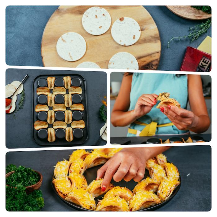 Mini Tacos selber machen Schritt für Schritt, kleine Kreise aus Tortilla-Wraps, Tacos mit geriebenem Cheddarkäse