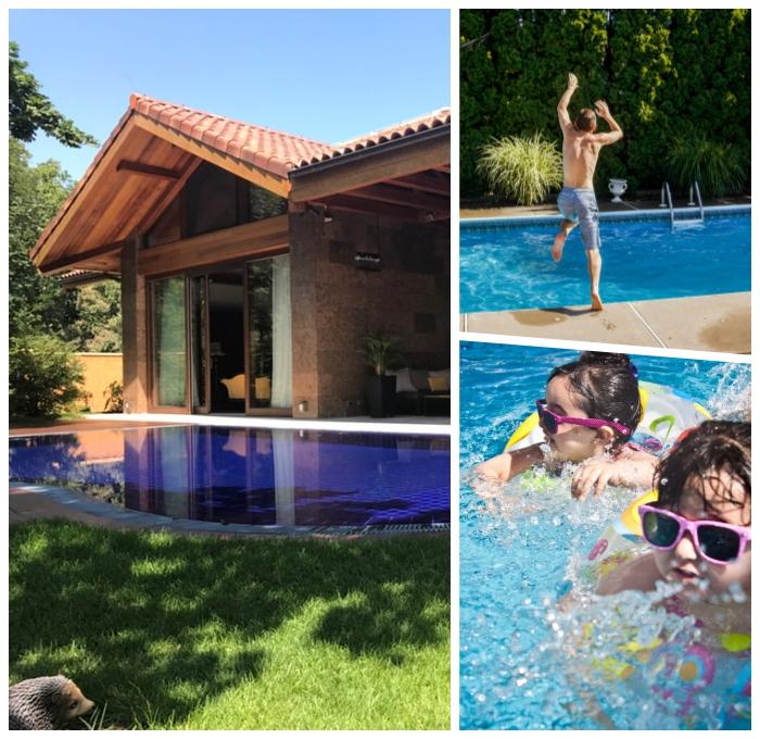 pool im garten planen, wichtige tipps, kinder spielen, schwimmbad im hintergarten