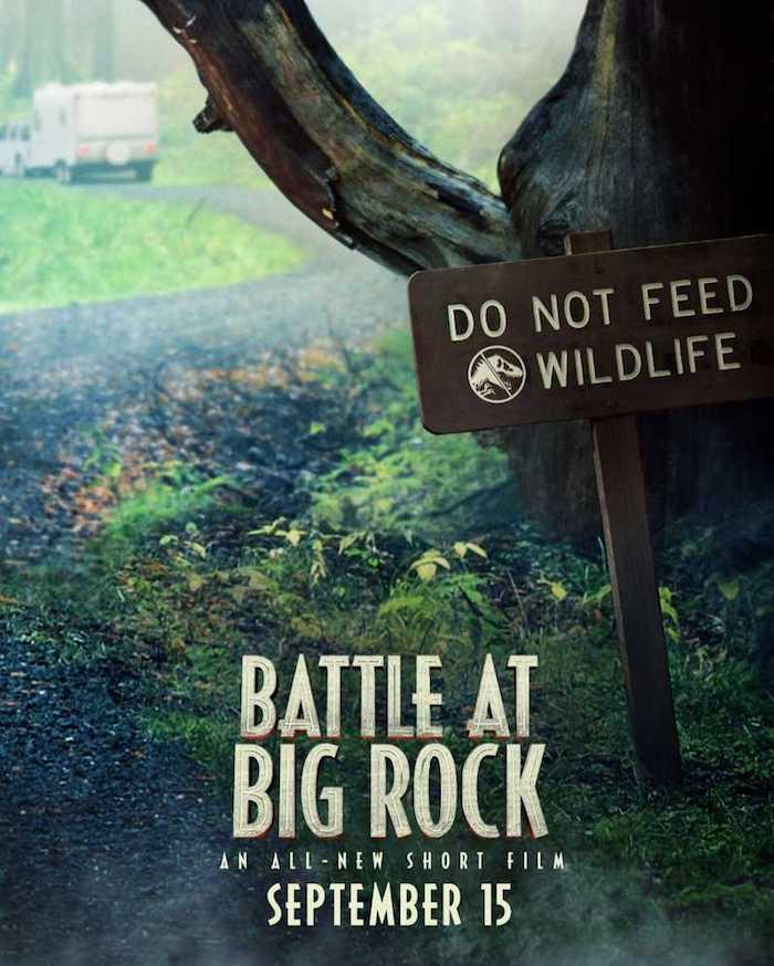 do not feed wildlife, ein poster zu dem neuen kurzfilm jurassic world battle at big rock, der nationalpark big rock, grüne pflanzen und ein baum