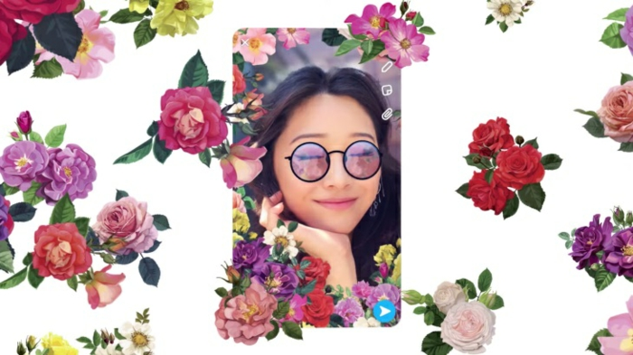 so sieht eine 3D Selfie aus, ein Mädchen mit Brillen und vielen Blumen in Vordergrund