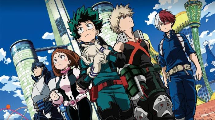 eine Szene aus My Hero Academia mit allen Haupthelden, ein Anime von Sony gestreamt
