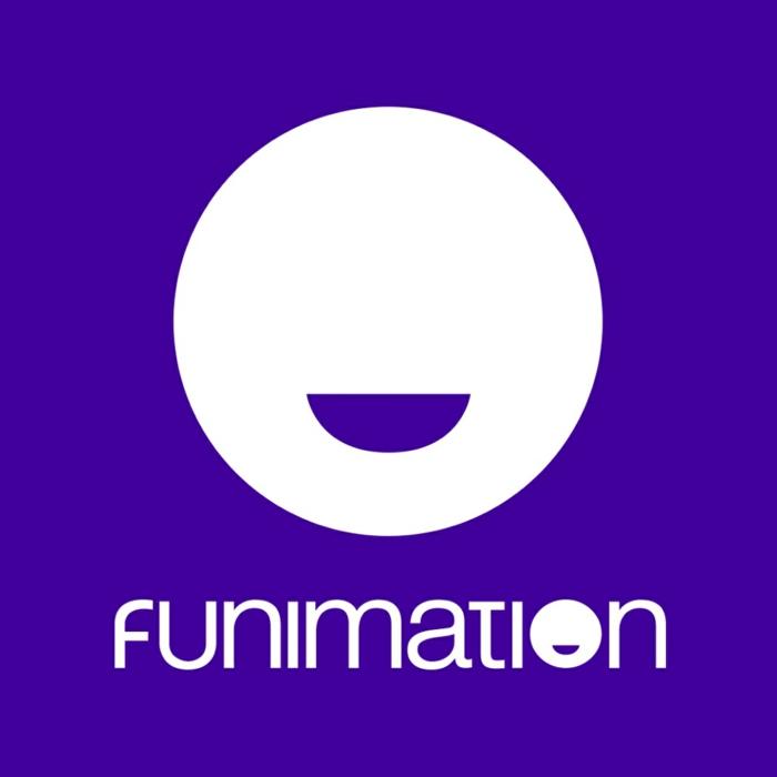 das Logo von Funimation, ein Gesicht mit Lächeln, auf einem blauen Hintergrund, Streaming Dienst von Sony