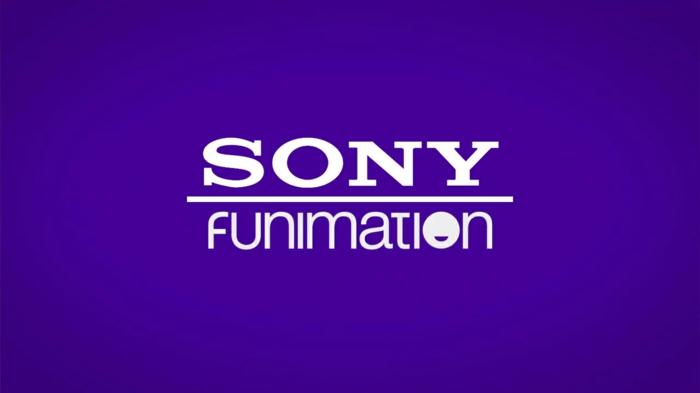 Sony Funimation, weiße Buchstaben auf einem blauen Hintergrund, das Logo