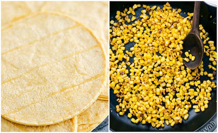 Tortilla Wraps und gegrillter Mais, Zutaten für schnelle und einfache Tacos
