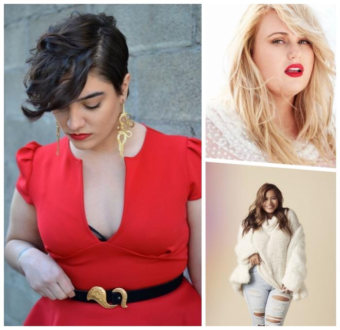welche frisur steht mir, rotes kleid, kuerzhaarfrisur mit locken, blonde haare, mode für mollige