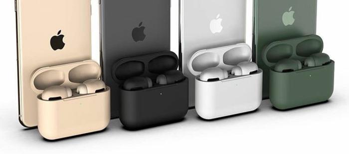 vier Airpods Pro in verschiedenen Farben, Smartphones mit dem Logo von Apple