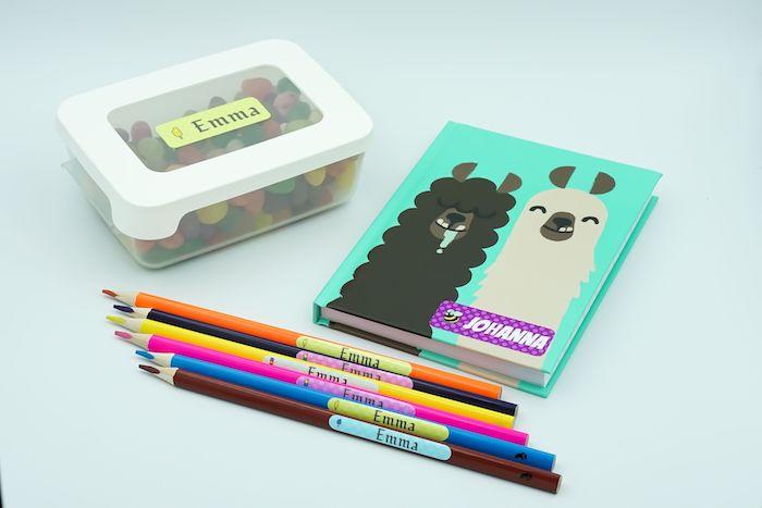 Heft mit lustigem Design, Buntstifte und Box mit Namensetiketten versehen