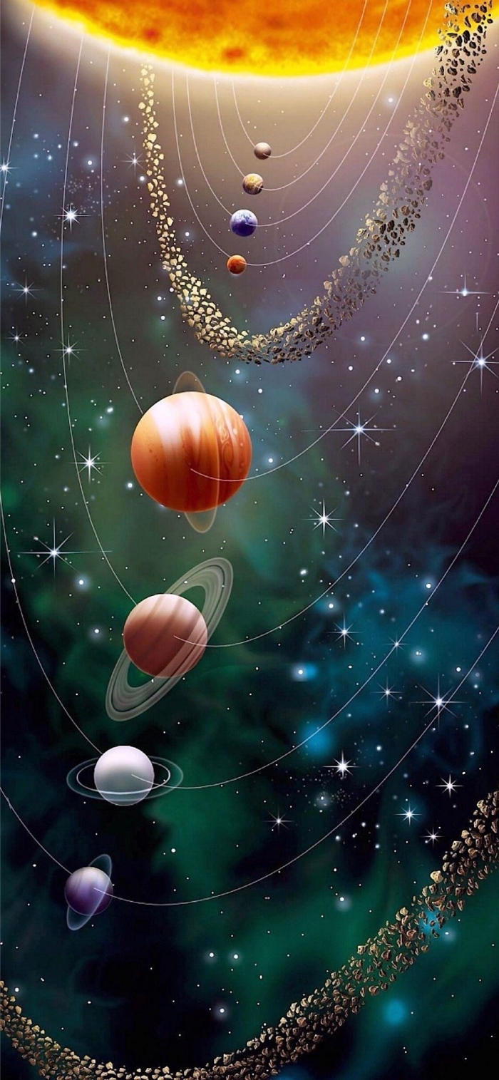 apple hintergrund, abstrakes wallpaper, das sonnensystem, 3d hintergrundbild, planeten