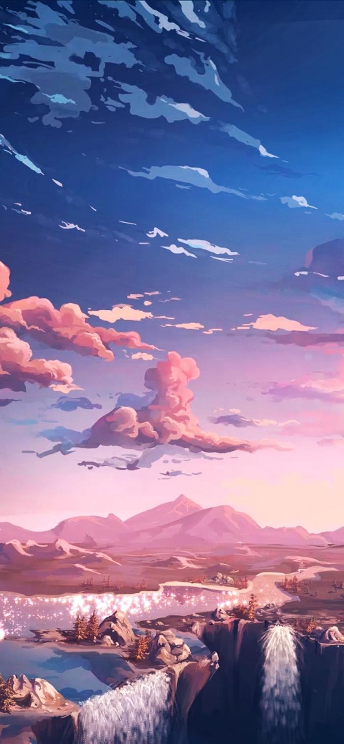 apple hintergrund frei herunterladen, herrliche landschaft, himmel mit wolken, gebirge