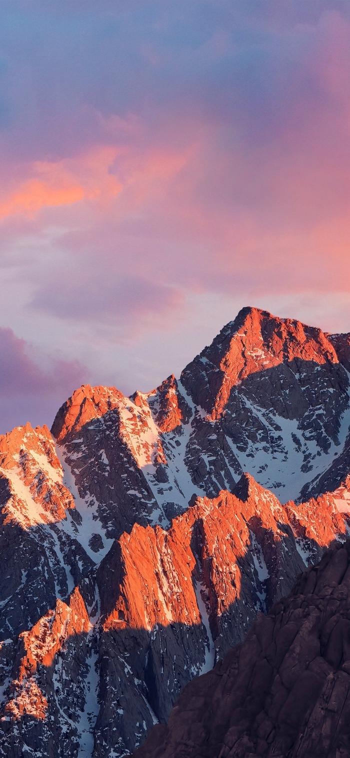 apple hintergrund ideen, sonnenübergang foto, spitzen mit schnee, landschaft