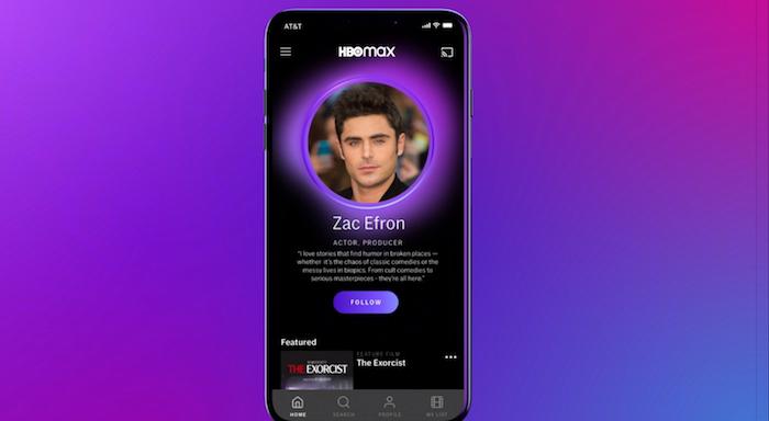 ein smartphone mit einem bildschirm mit bild von dem schauspieler zac efron, der neue streamingdienst hbo max von dem studio warner media