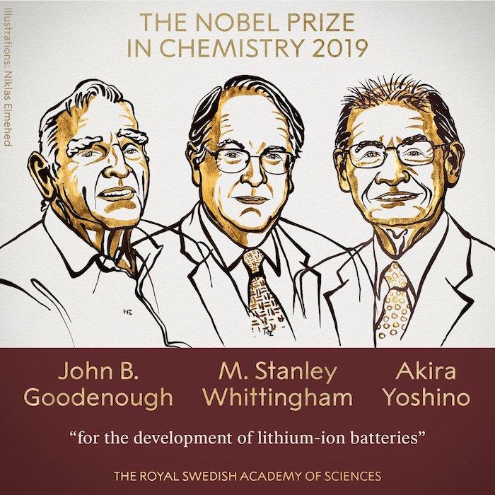 ein forscher trio, die nobelpreisträger für Chemie, drei alte männer, ein mann mit brille und anzug, John Bannister Goodenough