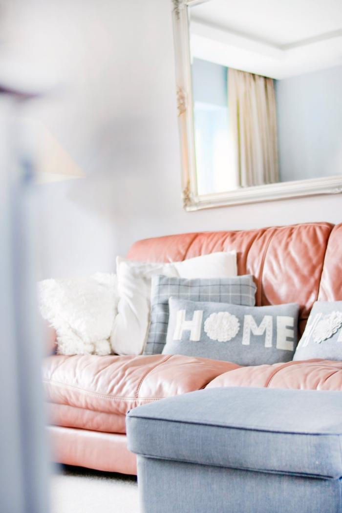 cozy deko für whnzimmer, wohnzimmerdeko in grau und rosegold, gemütliche wohnungsdeko