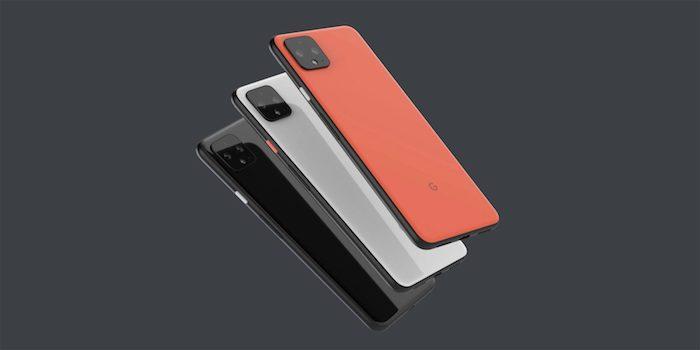 drei kleine smartphones von google, das neue pixel 4, drei handys in orange, weiß und schwarz und mit schwarzen kameras