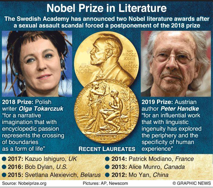 ein mann mit brille, der österreichische schriftsteller peter handke, der litertaurnobelpreis, die autorin Olga Tokarczuk