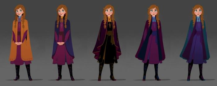 Anna wird mit vielen Outfits gezeichnet für Die Eiskönigin Sequel,