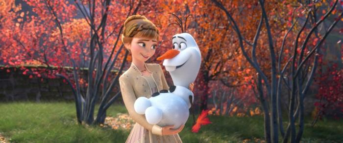 die Eiskönigin Sequel, Elsa und Olaf sind gute Freunde in einem prächtigen Herbst,