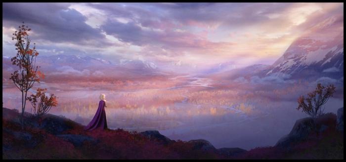 ein Ausblick von einem Königreich, dicke Wolken bei Sonnenuntergang, Die Eiskönigin Sequel
