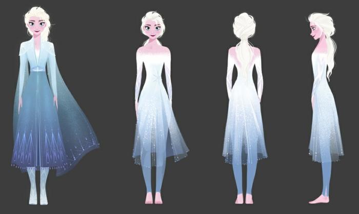 vier Fotos von Elsa mit einem weißen Kleid und langen blonden Haar, Die Eiskönigin Sequel