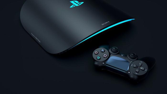 ein joystik und die schwarze konsole für games namens playstation, die logos von sony und playstation