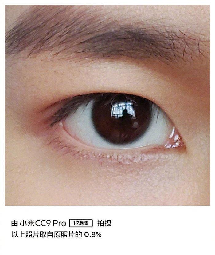 auge eines manns, ein aufschnitt eines beispielfotos, das mit dem neuen Xiaomi Mi CC9 Pro aufgenommen wurde
