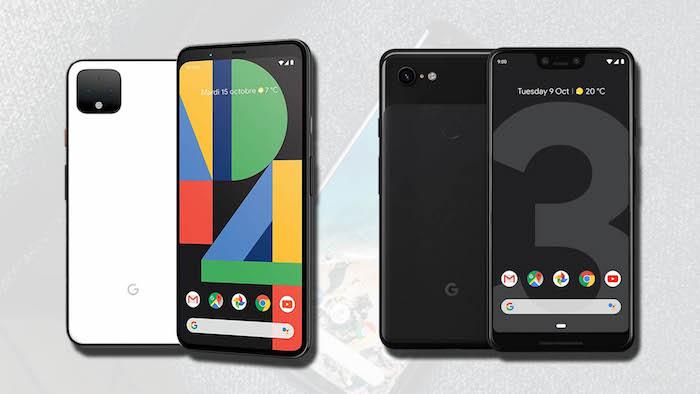 vier schwarze und weiße smartphones, ein handy mit display mit dark mode, das neue smartphone google pixel 4
