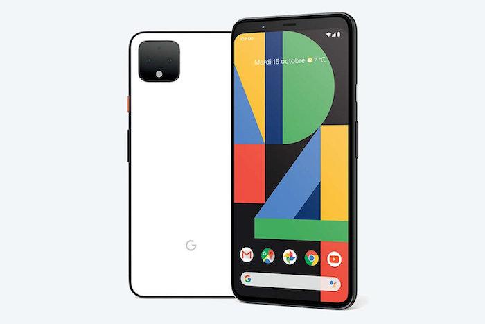 ein weißes und ein schwarzes smartphone mit einem bunten bildschirm, ein weißes handy mit einer schwarzen kamera