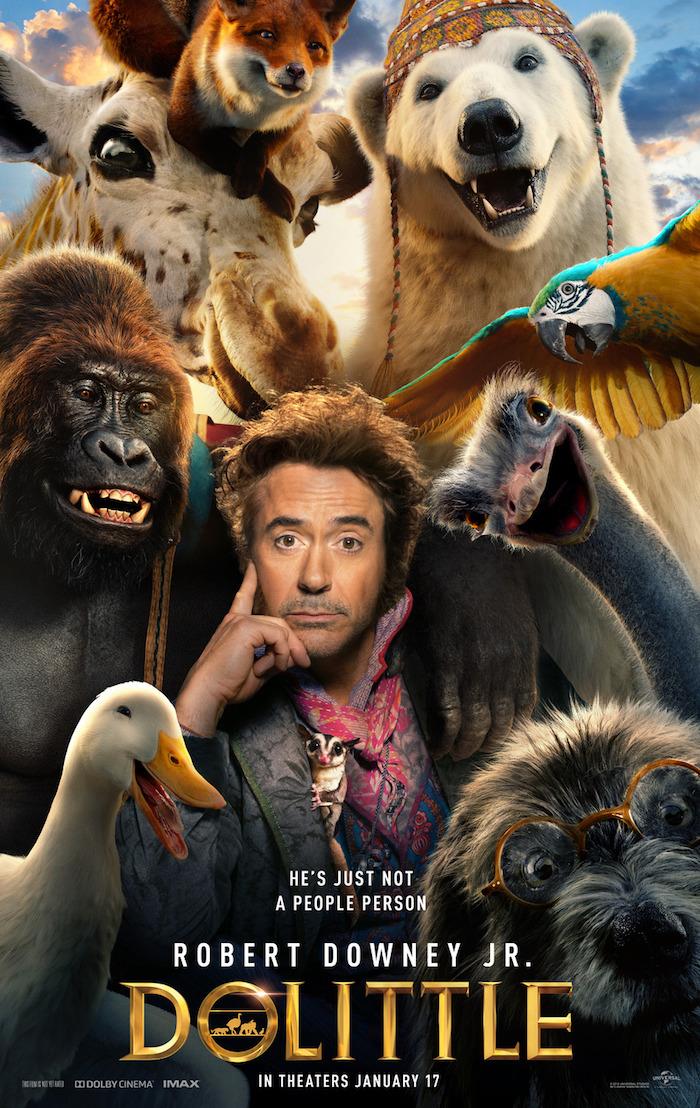 poster zu dem film die fantastische reise der dr dolottle mit dem schauspieler robert downey jr, eine weiße ende und ein eisbär, gorilla und fuchs