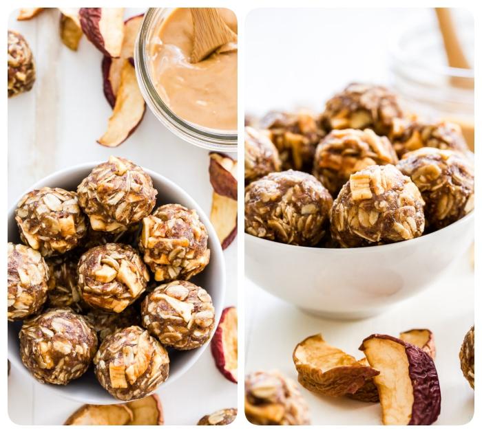 energie balls mit getrockneten äpfeln, erdnussbutter und nüssen, eiweiß rezepte, proteinbällchen