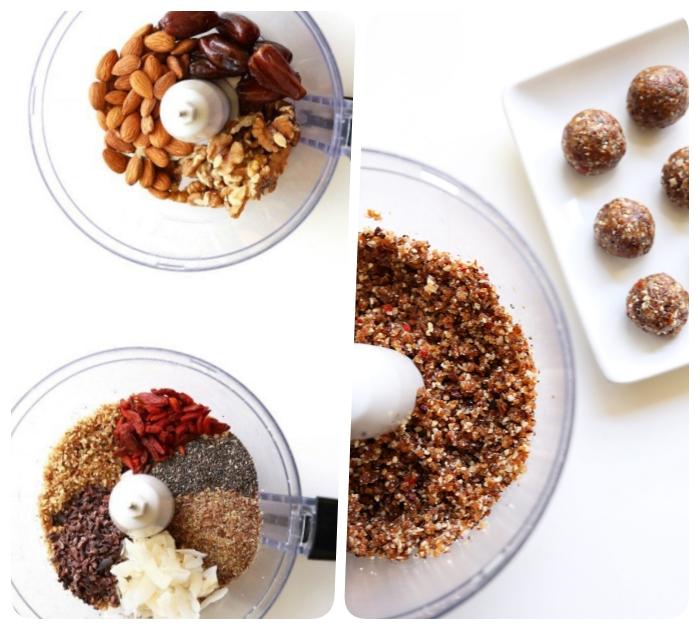 energie balls mit mandeln, cashewnüssen, kakaonibs und samen, energykugeln selber machen