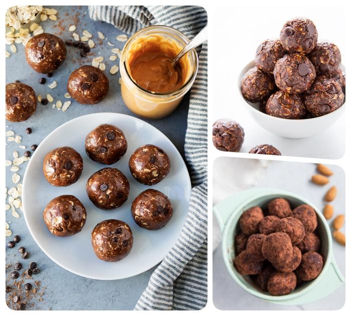 energie balls selber machen, proteinbällchen mit erdnussbutter, kakao und schokoaldenchips