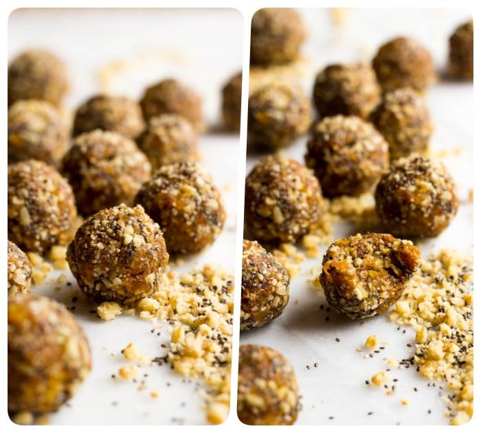 energiekugeln rezept, bliss balls mit erdnüssen und kürbis, rohe energybällchen