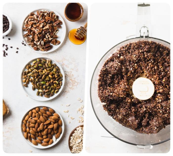 energiekugeln rezept, proteinkugeln mit mandeln, pekannüssen und pistazien, bliss balls