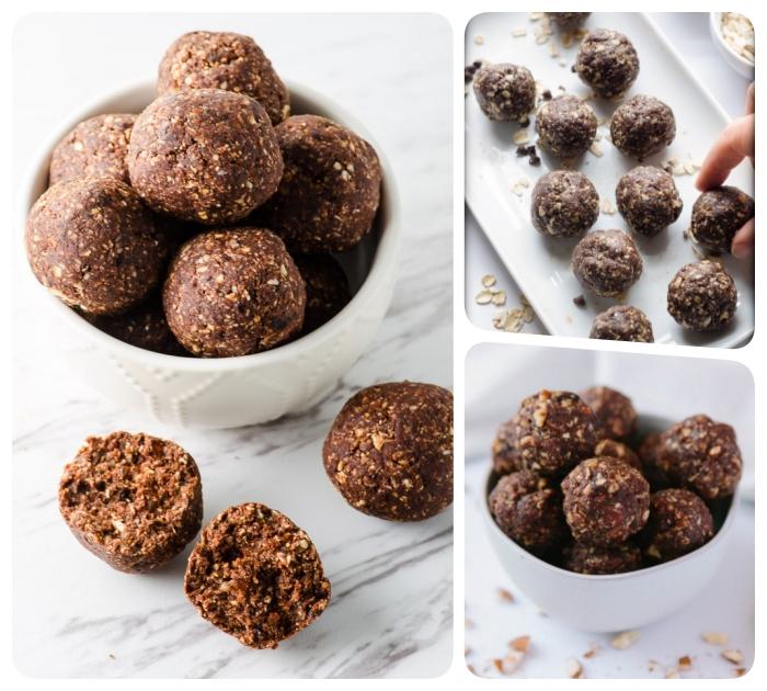 energy ball, bliss balls selber machen, proteinbällchen mit kakao, nüssen und datteln