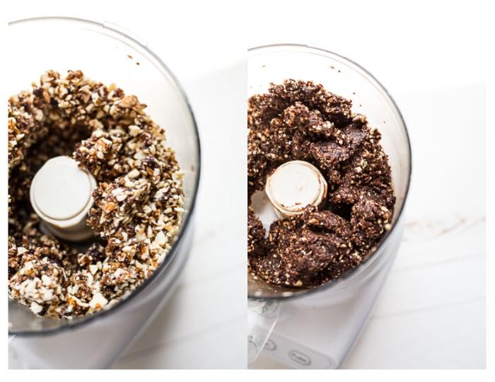 energy ball zubereitung, stillkugeln mit nüssen, kakao und datteln, gesunde rezepte