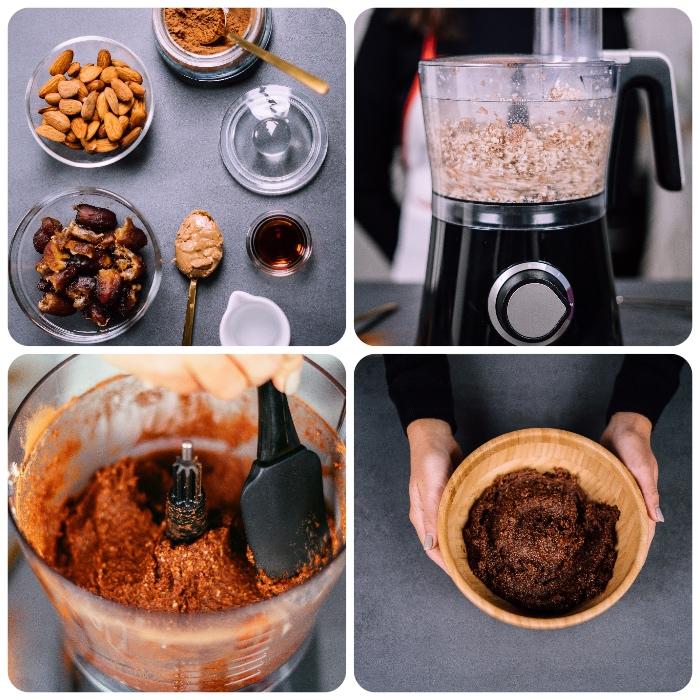 enegry balls, einfaches rezept, energiebällchen mit mandeln, datteln, erdnussbutter und kakao