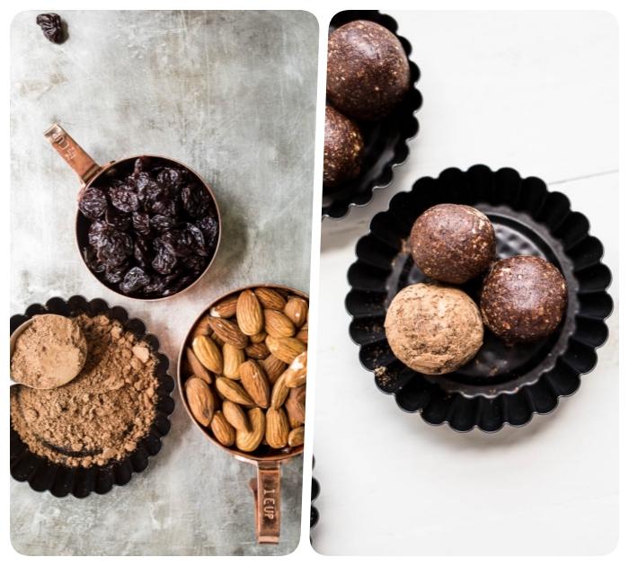energy balls rezept mit mandeln, kakao und datteln, stillkugeln zubereiten, energiebällchen