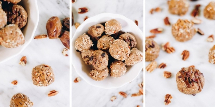 energy balls rezept mit pekannüssen, haferflocken und erdnussbutter, proteinbällchen