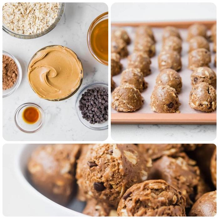 enegry balls selber machen, eiweiß rezepte, energiebällchen mit erdnussbutter, honig und haferflocken