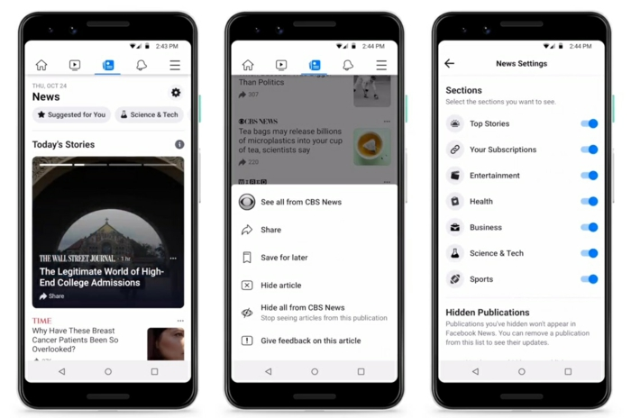 drei Displays von Smartphones, die die neue Funktion Facebook News in Detail zeigen
