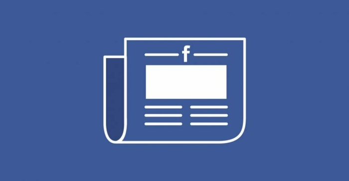 Facebook News, eine Zeitung mit dem Logo von Facebook auf blauer Hintergrund