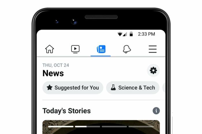 ein Display, das zeigt, wie die neue Facebook News Funktion aussehen wird