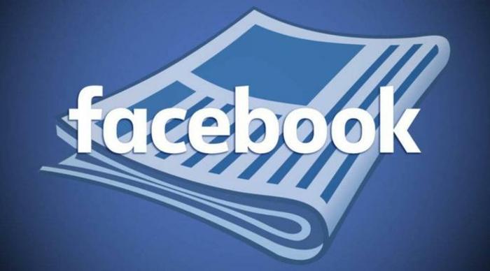 eine Zeitung und das Logo von Facebook, Facebook News mit einem Logo